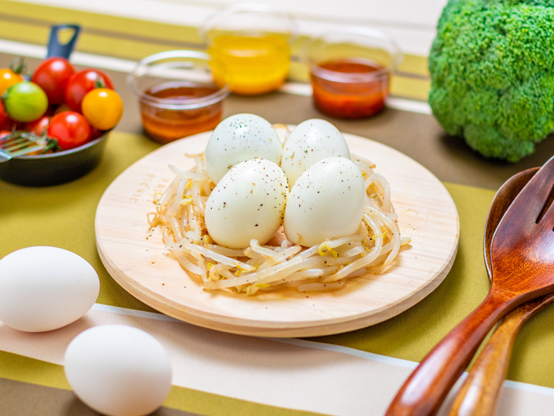 タンパク質充填ゆで卵 4個の写真